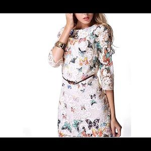 Butterfly Print 3/4 Sleeves Lace Mini Dress